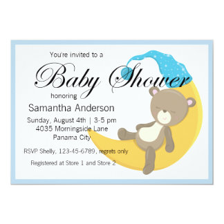Teddy Bear on Crescent Moon Baby Shower Card
