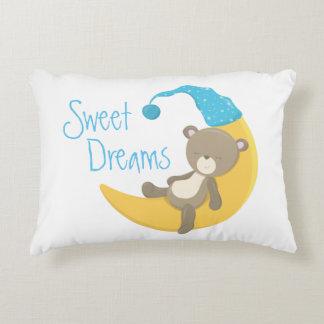 Teddy Bear on Crescent Moon Nursery Decorative Pillow