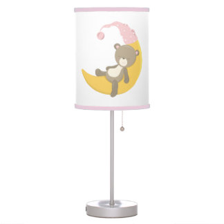 Teddy Bear on Crescent Mooon Desk Lamp