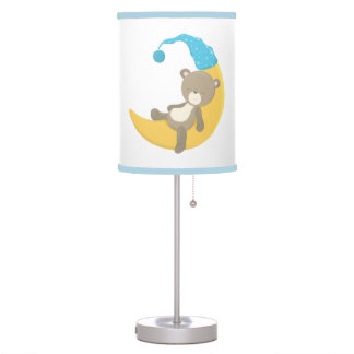 Teddy Bear on Crescent Mooon Table Lamp