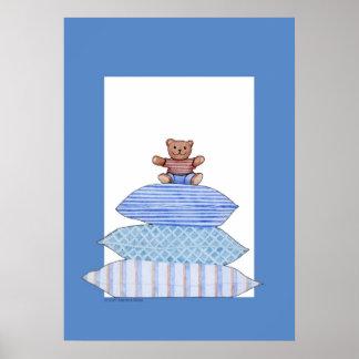 Teddy Bear on Cushions Poster