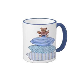Teddy Bear on Cushions White Mug