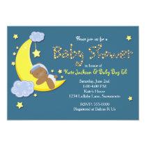 Teddy Bear on Moon BABY SHOWER Stars Invitation