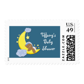 Teddy Bear on Moon & Stars Invite Stamp Postage