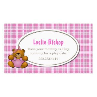 Teddy Bear on Pink Plaid Play Date Card Business Card