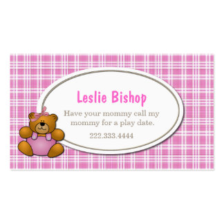Teddy Bear on Pink Plaid Play Date Card Double-Sided Standard Business Cards (Pack Of 100)