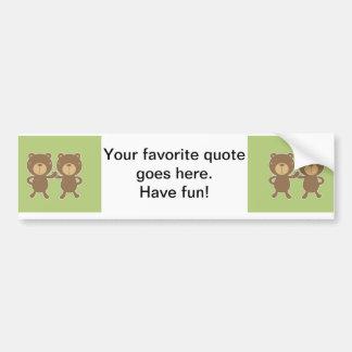 Teddy bear on plain pastel green. bumper sticker