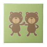 Teddy bear on plain pastel green. ceramic tile