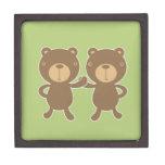 Teddy bear on plain pastel green. premium trinket boxes