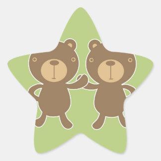 Teddy bear on plain pastel green. star sticker