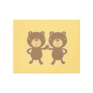 Teddy bear on plain pastel yellow. canvas print