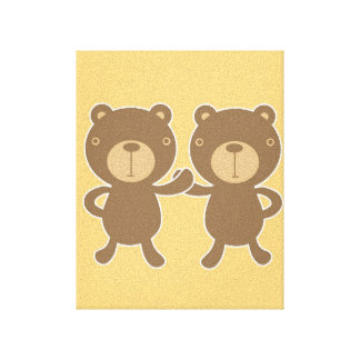 Teddy bear on plain pastel yellow. stretched canvas print