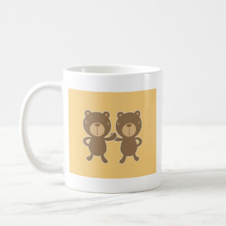 Teddy bear on plain pastel yellow. coffee mug