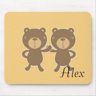 Teddy bear on plain pastel yellow. mouse pad