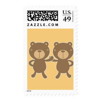 Teddy bear on plain pastel yellow. stamp