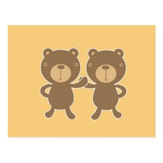 Teddy bear on plain pastel yellow. postcard