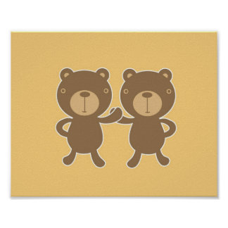 Teddy bear on plain pastel yellow. print