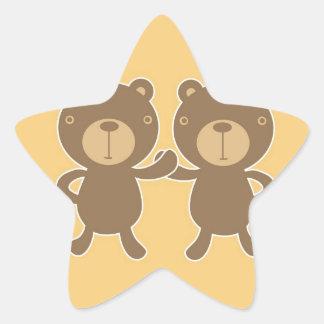 Teddy bear on plain pastel yellow. star sticker