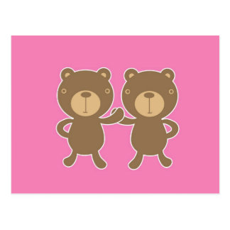 Teddy bear on plain pink background. postcards