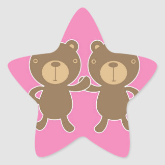 Teddy bear on plain pink background. star sticker