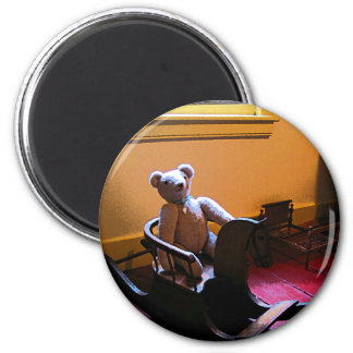 Teddy Bear on Rocking Horse 2 Inch Round Magnet