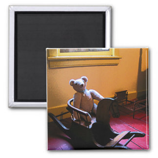 Teddy Bear on Rocking Horse 2 Inch Square Magnet