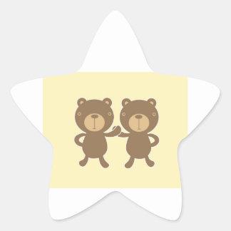 Teddy Bear on Yellow Background. Star Sticker