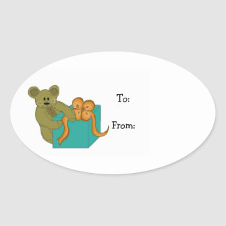 Teddy Bear Opening a Present Sticker