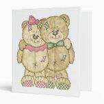 Teddy Bear Pair - Original Colors 3 Ring Binders