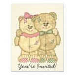 Teddy Bear Pair - Original Colors 4.25x5.5 Paper Invitation Card