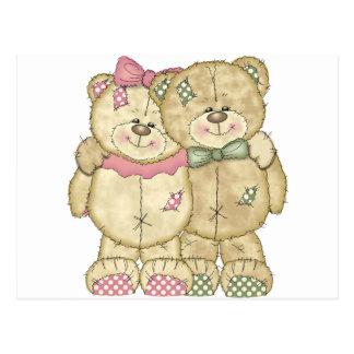 Teddy Bear Pair - Original Colors Postcard
