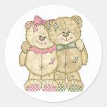 Teddy Bear Pair - Original Colors Round Stickers