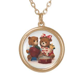 Teddy bear pair round pendant necklace