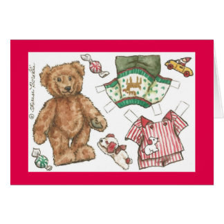 Teddy Bear Paper Doll Christmas Card