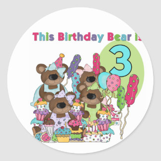 Teddy Bear Party 3rd Birthday Tshirts and Gifts Classic Round Sticker