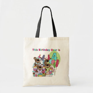 Teddy Bear Party 4th Birthday Tshirts and Gifts Canvas Bag