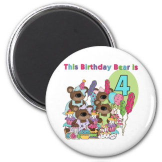 Teddy Bear Party 4th Birthday Tshirts and Gifts 2 Inch Round Magnet