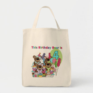 Teddy Bear Party 4th Birthday Tshirts and Gifts Tote Bag