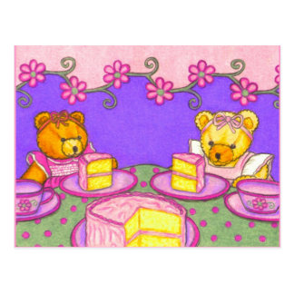 Teddy Bear Party / Pink Cake Postcard Invitations