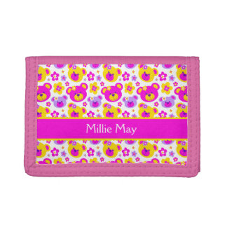Teddy bear patterned kids personalized name wallet