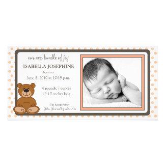 Teddy Bear Peach Customized Birth Announcement