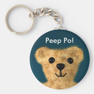 Teddy Bear (Peep po!) Basic Round Button Keychain