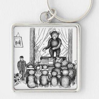 Teddy Bear Performs on Stage Keychain