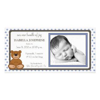 Teddy Bear Periwinkle Birth Announcement