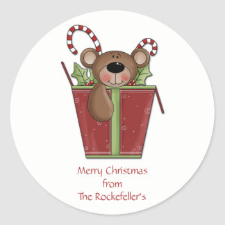 Teddy Bear Personalized Christmas Stickers