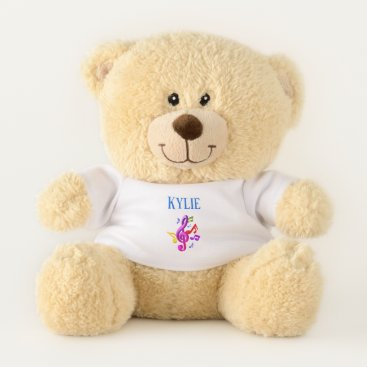 Hawaiian Themed Teddy Bear-Personalized Name Colorful Music Notes Teddy Bear