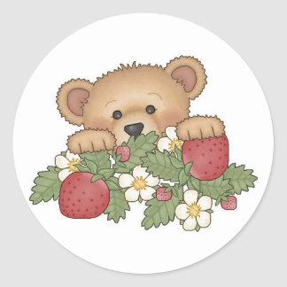 Teddy Bear picking strawberries Classic Round Sticker