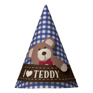Teddy Bear Picnic Birthday -Blue Gingham Party Hat
