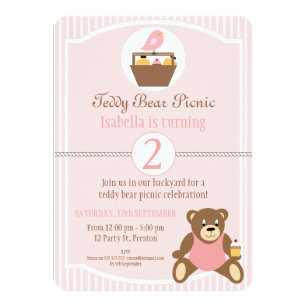 Teddy bear birthday party invitations announcements zazzle teddy bear picnic birthday party invitation filmwisefo