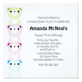 teddy bear picnic BIRTHDAY PARTY invitation 2